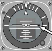 Attitude Indicator AI zeigt Längsneigung 10° pitch in Steigflugkonfiguration
