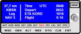 GPS-Anzeige mit Flugzeiten UTC Startzeit, voraussichtliche Ankunftszeit ETA, bisherige Fugzeit