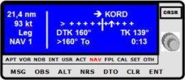 GPS-Flugnavigation, CDI Anzeige vor Erreichen der Soll- Kurslinie