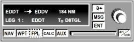 Flugplan FPL Flight Plan am GPS Anzeigegerät zeigt div. Flugabschnitte legs